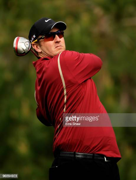 David Duval tees off on the ninth hole during the first round of the AT&T Pebble Beach National Pro-Am at at the Spyglass Hill Golf Course on...