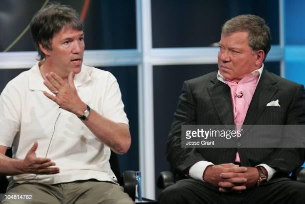 David E Kelley creator/executive producer and William Shatner of Boston Legal