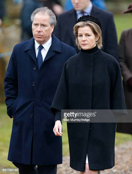 David Earl of Snowdon and Serena Countess of Snowdon attend the Sunday service at the church of St Mary the Virgin in Flitcham on January 15 2017...