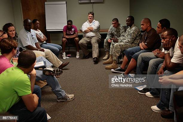David Easterling Suicide Prevention Program manager at Fort Riley moderates an ASIST seminar a suicide prevention class with soldiers of the US Army...