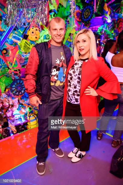 David Eckstein and Ashley Eckstein attend the opening of Kenny Scharf's Cosmic Cavern in celebration of Mickey's 90th Anniversary at Minnesota Street...