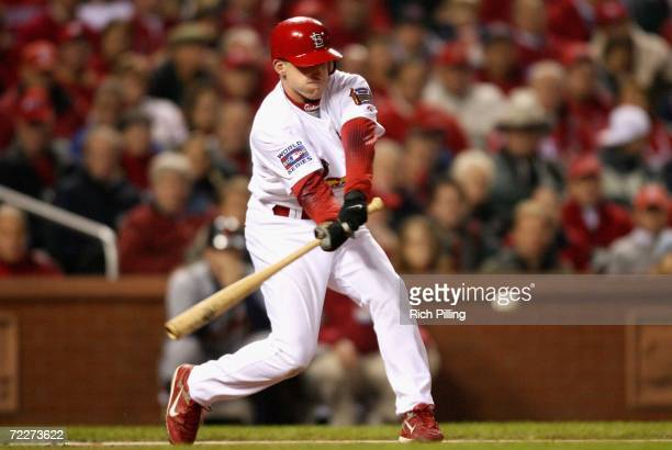 David Eckstein of the Detroit Tigers hits a lead off single against the St. Louis Cardinals during Game Four of the 2006 World Series on October 26,...