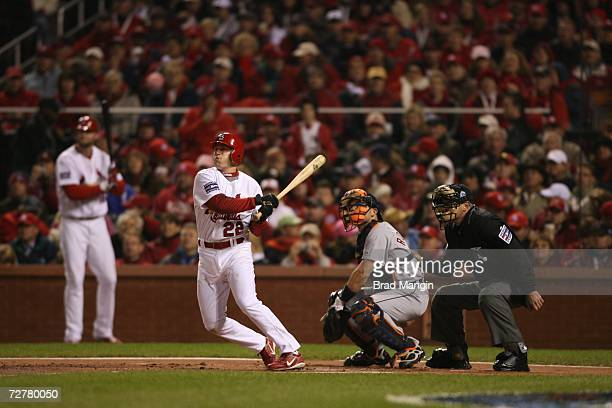 David Eckstein of the St Louis Cardinals bats during Game Five of the 2006 World Series on October 27 2006 at Busch Stadium in St Louis Missouri The...
