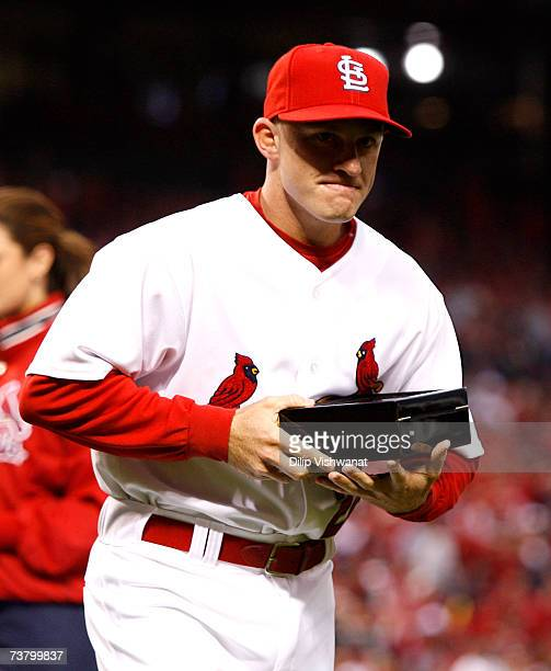 David Eckstein of the St Louis Cardinals is presented with his 2006 World Series Championship ring before playing the New York Mets at Busch Stadium...