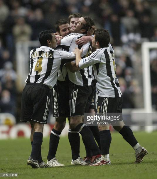 David Edgar celebrates after scoring the equaliser for Newcastle during the Barclays Premiership match between Newcastle United and Manchester United...