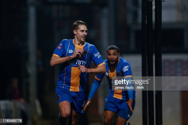 David Edwards of Shrewsbury Town celebrates after scoring a goal to make it 01 during the FA Cup First Round Replay match between Bradford City and...