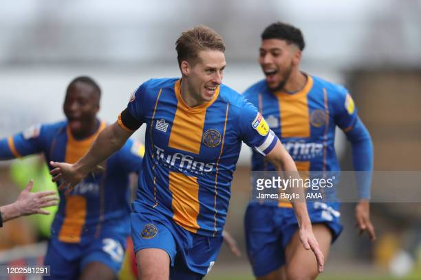 David Edwards of Shrewsbury Town celebrates after scoring a goal to make it 1-0 during the Sky Bet League One match between Shrewsbury Town and...