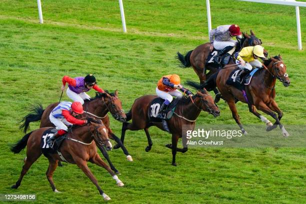 David Egan riding Epic Endevour win The Heatherwold Stud Handicap at Newbury Racecourse on September 19 2020 in Newbury England Owners are allowed to...