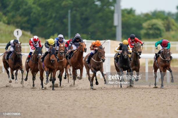 David Egan riding Queen of Silca win The Chelmsford Handicap at Chelmsford City Racecourse on June 08, 2020 in Chelmsford, England.