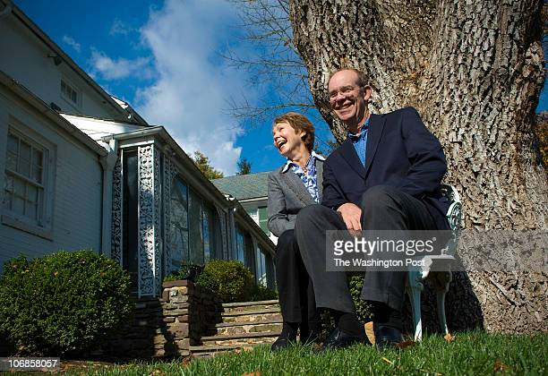 David Eisenhower, right, shares a laugh with his wife, Julie Nixon Eisenhower during a visit to the home of his late grandfather, President Dwight...