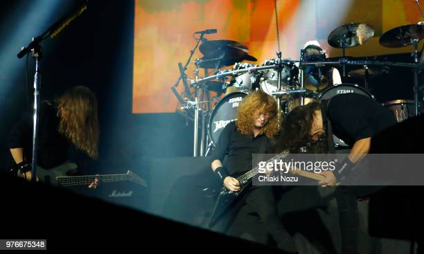 David Ellefosn Dave Mustaine and Kiko Loureiro of Megadeth perform during the Stone Free Festival at The O2 Arena on June 16 2018 in London England