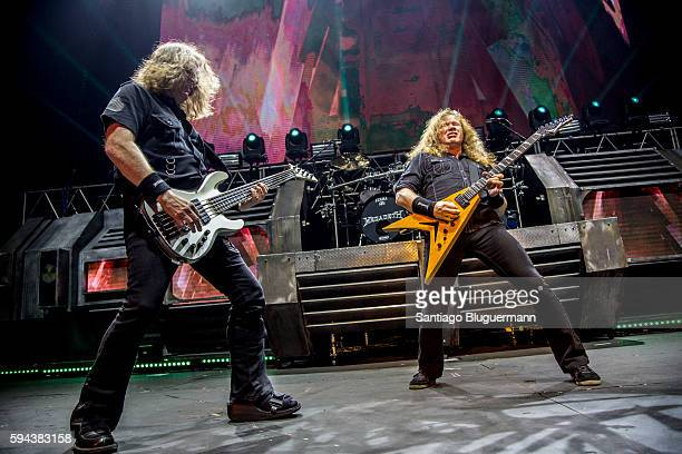 David Ellefson and Dave Mustaine performs during Megadeth concert as part of Dystopia World Tour at Luna Park on August 22 2016 in Buenos Aires...