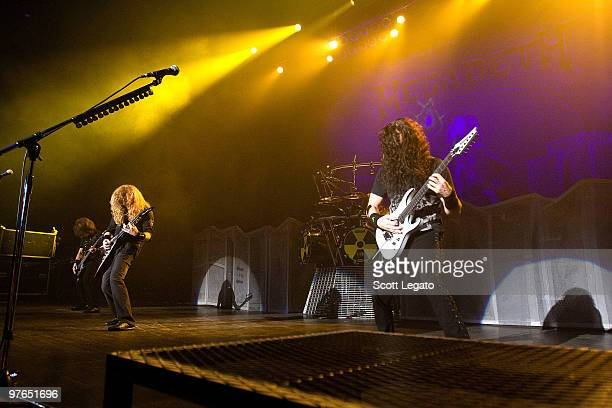 David Ellefson Dave Mustaine and Chris Broderick of Megadeth perform at the Egyptian Room Murat Centre on March 11 2010 in Indianapolis Indiana