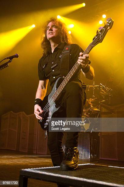 David Ellefson of Megadeth performs at the Egyptian Room Murat Centre on March 11 2010 in Indianapolis Indiana