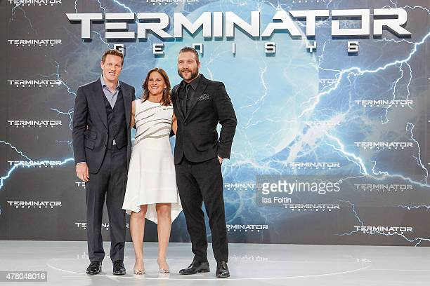 David Ellison Dana Goldberg and Jai Courtney attend the European Premiere of 'Terminator Genisys' at the CineStar Sony Center on June 21 2015 in...