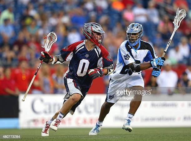 David Emala of Boston Cannons runs the ball in the second half against the Ohio Machine at Gillette Stadium on July 11 2015 in Foxboro Massachusetts