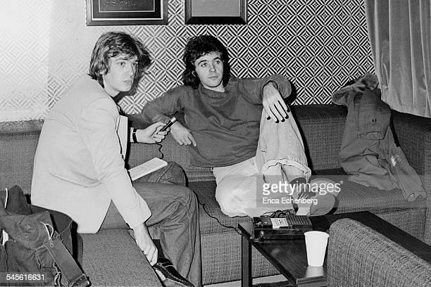 David Essex being interviewed for Melody Maker by music journalist Harry Doherty Sheffield Hotel Sheffield United Kingdom December 1976