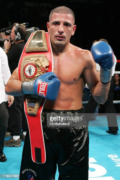 David Estrada poses with the USBA Welterweight title after stopping Chris Smith at Mohegan Sun Arena in Uncasville, CT. Estrada stopped the...