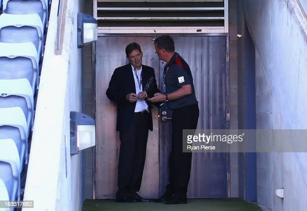 David Evans Chairman of Essendon and Ian Robson CEO of Essenson talk before the round three of the NAB Cup AFL match between the Greater Western...