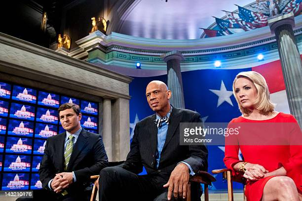 David Faber Kareem AbdulJabbar and Dana Perino speak during a rehearsal before a taping of Jeopardy Power Players Week at DAR Constitution Hall on...