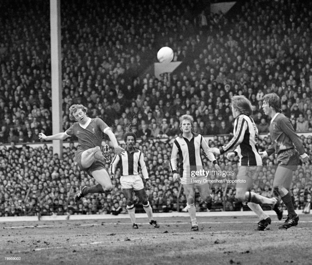 3rd February 1979. Anfield, Liverpool. Liverpool 2 v West Bromwich Albion 1. David Fairclough of Liverpool unleashes a shot. : News Photo