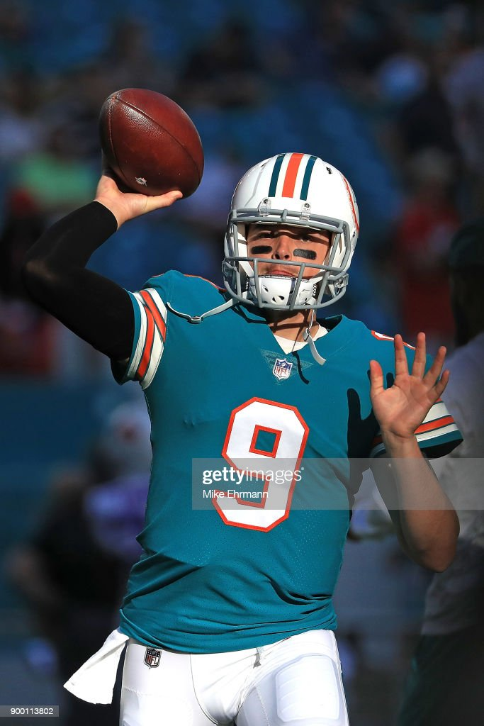 David Fales #9 of the Miami Dolphins during pregame against the Buffalo Bills at Hard Rock Stadium on December 31, 2017 in Miami Gardens, Florida.