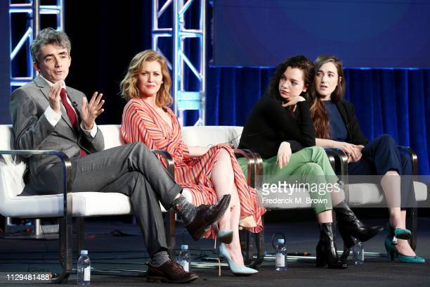 David Farr Mireille Enos Esme CreedMiles and Sarah Adina Smith of the television show 'Hanna' speak during the Amazon Prime Video Session of the 2019...
