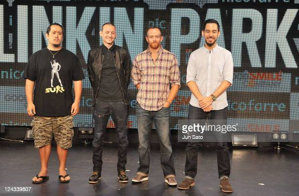 David Farrell Joe Hahn Chester Bennington and Mike Shinoda of Linkin Park attend Tsunami Relief Fundraiser Art Show For Japan 'A Thousand Horizons'...