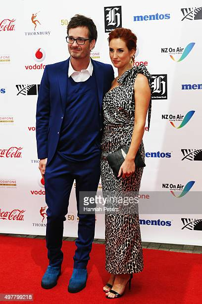 David Farrier and Samantha Hayes pose for a photo on the red carpet at the Vodafone New Zealand Music Awards at Vector Arena on November 19 2015 in...