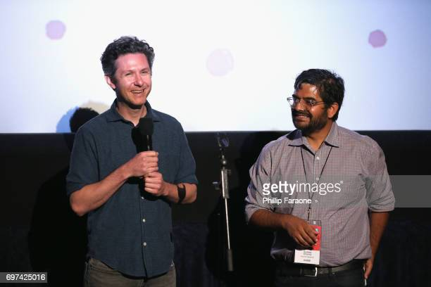 David Fenster and Sudeep Sharma speak onstage at the Opuntia Redmond Hand and Private Dick Premieres during 2017 Los Angeles Film Festival at...