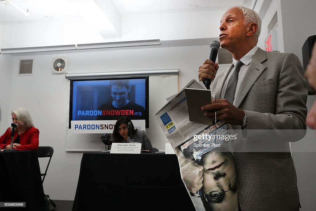 David Fenton, Chairman and founder of Fenton Communications, speaks before Edward Snowden appears via video link at a news conference for the launch of a campaign calling for President Obama to pardon him on September 14, 2016 in New York City. The campaign, which includes representatives from the American Civil Liberties Union, Human Rights Watch, Amnesty International and ACLU attorney Ben Wizner, looks to have the whistle blower pardoned from under the Espionage Act.