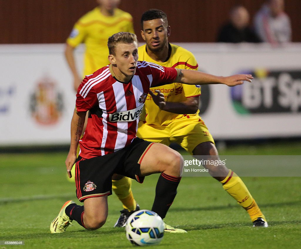David Ferguson of Sunderland during the Barclays U21 Premier League match between Sunderland U21 and Liverpool U21 at Eppleton Colliery Welfare ground on August 19, 2014 in Hetton Le Hole, England.
