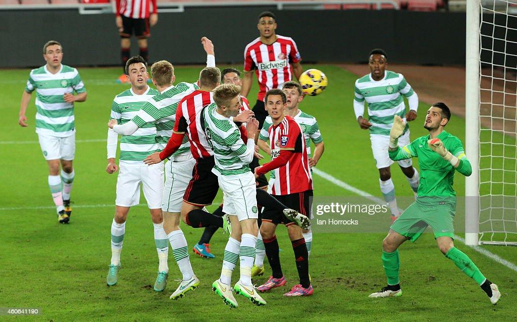 David Ferguson of Sunderland scores the opening goal with a header during The Premier League International Cup match between Sunderland U21 v Celtic U21 at the Stadium of Light on December 18, 2014 in Sunderland, England.