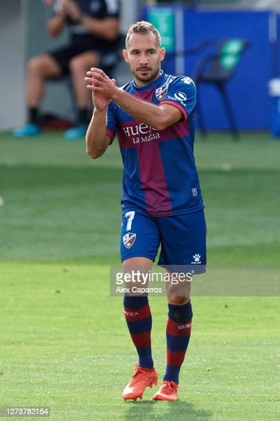 David Ferreiro of SD Huesca applauds during the La Liga Santander match between SD Huesca and Cadiz CF at Estadio El Alcoraz on September 20 2020 in...
