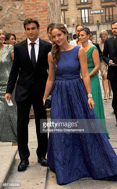 David Ferrer and Marta Tornel attend the wedding of tennis player Feliciano Lopez and model Alba Carrillo on July 17 2015 in Toledo Spain