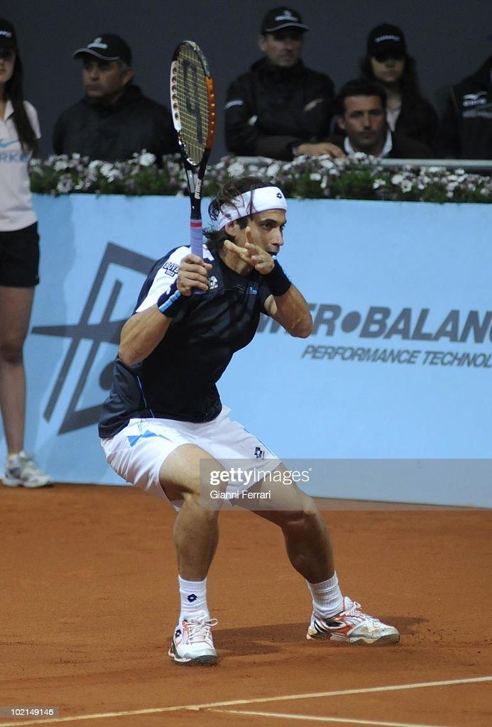 David Ferrer, ESP, in 'Mutua Madrilena Madrid Open' of tennis, 8th May 2010, in 'La Caja Magica'. Madrid, Spain.