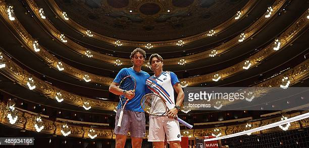 David Ferrer of Spain and Rafael Nadal of Spain pose inside the Gran Teatre del Liceu in Barcelona during day one of the ATP Barcelona Open Banc...