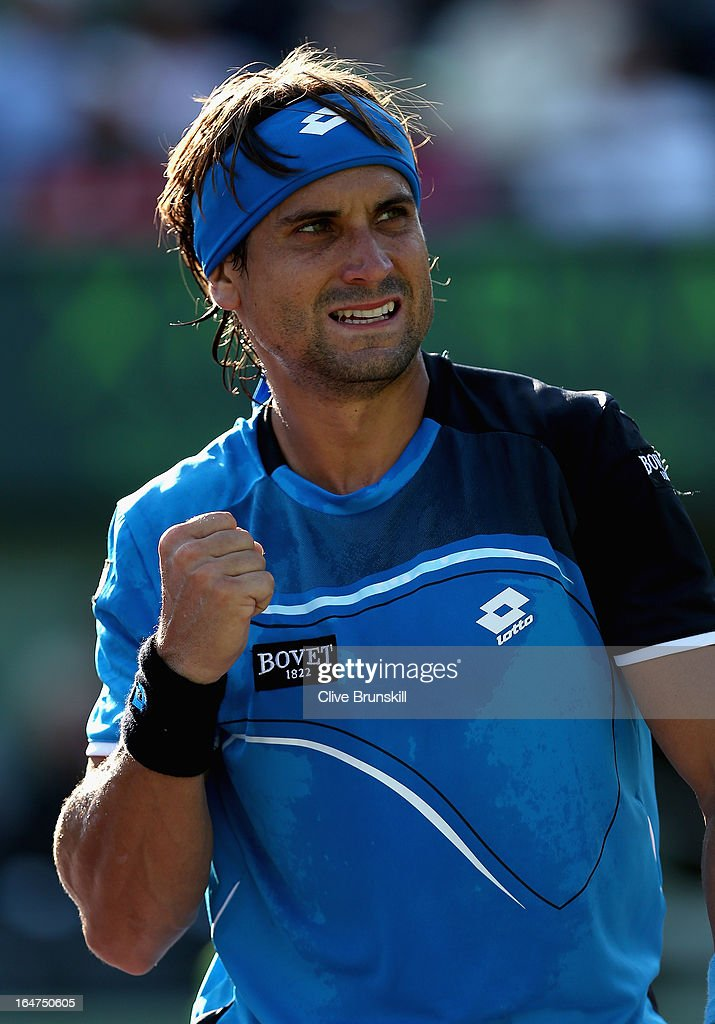 David Ferrer of Spain celebrates a point against Jurgen Melzer of Austria during their quarter final match at the Sony Open at Crandon Park Tennis Center on March 27, 2013 in Key Biscayne, Florida.