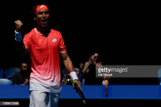 David Ferrer of Spain celebrates after defeating Lucas Pouille of France in the mens singles match during day seven of the 2019 Hopman Cup at Perth...