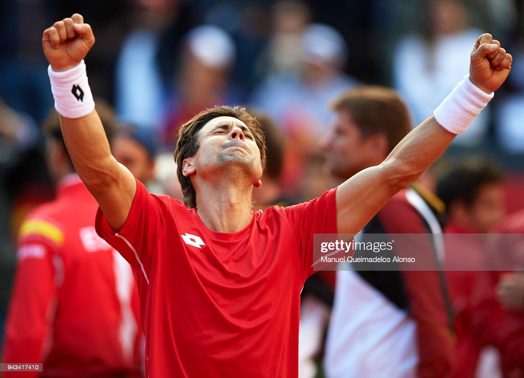 David Ferrer of Spain celebrates after defeating Philipp Kohlschreiber of Germany during day three of the Davis Cup World Group Quarter Final match between Spain and Germany at at Plaza de Toros de Valencia on April 8, 2018 in Valencia, Spain.