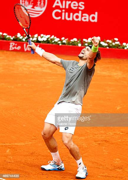 David Ferrer of Spain celebrates after winning the final of match ATP Buenos Aires Copa Claro against Fabio Fognini of Italy on February 16 2014 in...