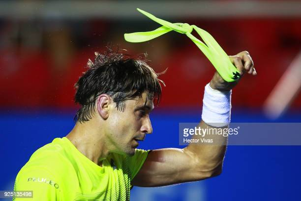 David Ferrer of Spain celebrates after winning the match against Andrey Rublev of Russia as part of the Telcel Mexican Open 2018 at Mextenis Stadium...