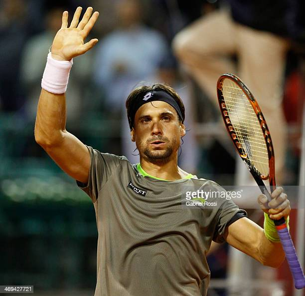 David Ferrer of Spain celebrates after winning the match between David Ferrer and Albert Ramos as part of ATP Buenos Aires Copa Claro on February 14...