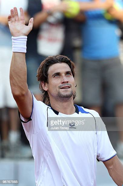 David Ferrer of Spain celebrates defeating JoWilfried Tsonga of France during day six of the ATP Masters Series Rome at the Foro Italico Tennis...