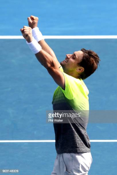 David Ferrer of Spain celebrates during his second round match against Joao Sousa of Portugal on day three of the ASB Men's Classic at ASB Tennis...