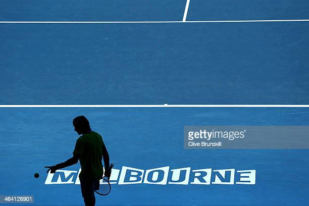 David Ferrer of Spain celebrates prepares to serve in his quarterfinal match against Tomas Berdych of the Czech Republic during day nine of the 2014...