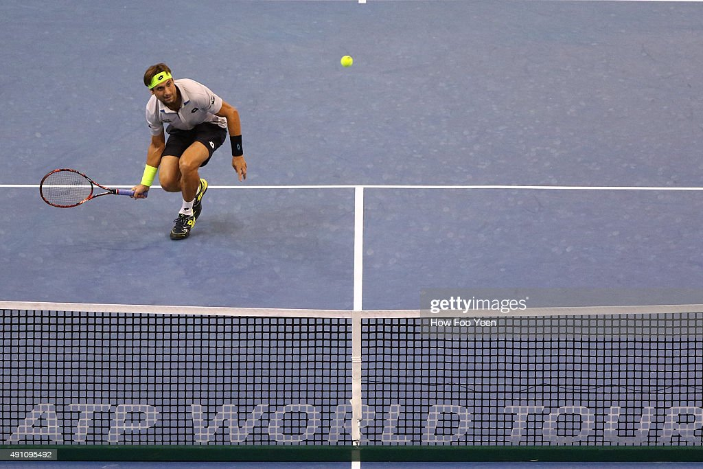David Ferrer of Spain competes against Benjamin Becker of Germany during the 2015 ATP Malaysian Open at Bukit Jalil National Stadium on October 3, 2015 in Kuala Lumpur, Malaysia.