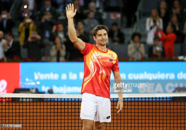 David Ferrer of Spain during a farewell ceremony following his last match on tour against Alexander Zverev of Germany on day 5 of the Mutua Madrid...