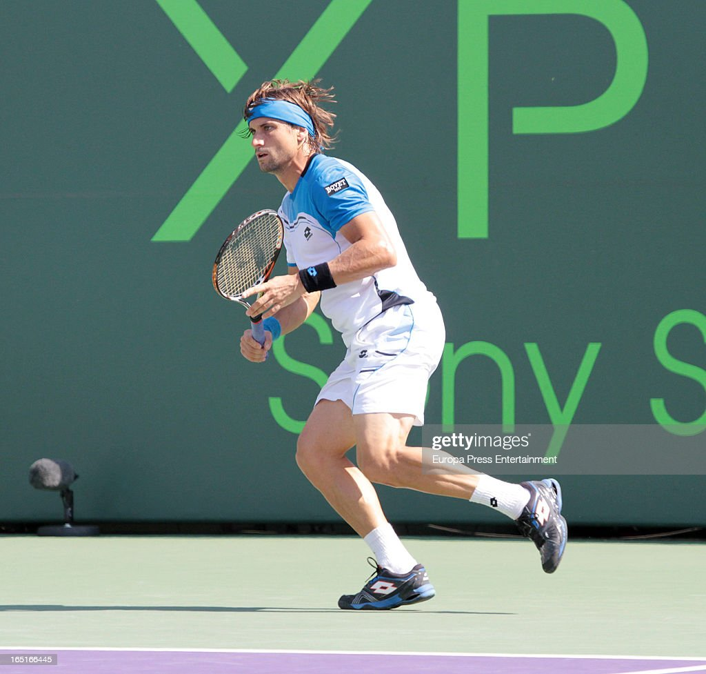 David Ferrer of Spain during the final of the Sony Open against Andy Murray of Great Britain at Crandon Park Tennis Center on March 31, 2013 in Key Biscayne, Florida.