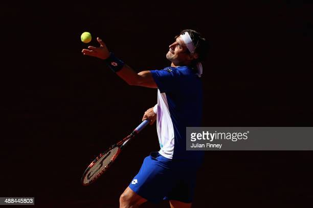 David Ferrer of Spain in action against Albert Ramos of Spain during day four of the Mutua Madrid Open tennis tournament at the Caja Magica on May 6...